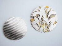 Corrugated brooch & Leaves brooch by Recent Works: Weathered and Worn